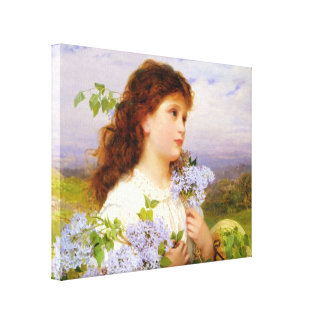 11x14 Vintage Girl with Lilacs 1875 Canvas Gallery Wrapped Canvas