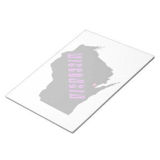 11x8.5 púrpura/negro de Wisconsin Bloc De Notas
