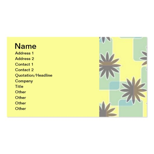 120506 SWANKY FLOWERS SQUARES PATTERN SHAPES 70S F BUSINESS CARD
