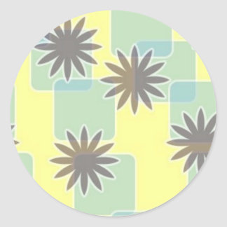 120506 SWANKY FLOWERS SQUARES PATTERN SHAPES 70S F CLASSIC ROUND STICKER