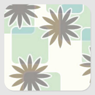 120506 SWANKY FLOWERS SQUARES PATTERN SHAPES 70S F SQUARE STICKER