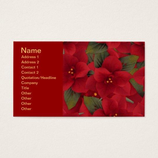 120606-poinsettias-light RICH RED FLOWERS POINSETT Business Card