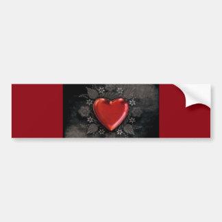 1209 DARK RED BLACK HEART EMO LOVE TOUGH DARK SYMB BUMPER STICKER