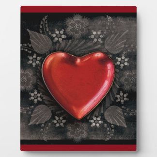 1209 DARK RED BLACK HEART EMO LOVE TOUGH DARK SYMB PLAQUE