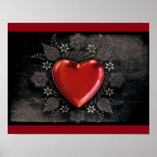 1209 DARK RED BLACK HEART EMO LOVE TOUGH DARK SYMB POSTER