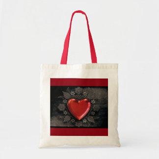 1209 DARK RED BLACK HEART EMO LOVE TOUGH DARK SYMB TOTE BAG