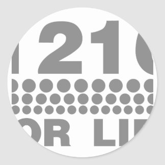 1210 For Life -Turntable DJ Deck Music Disc Jockey Classic Round Sticker