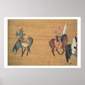 1214-94) cazas de Kublai Khan ((detalle), dynas de Póster