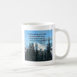 121:1 del salmo levantaré para arriba ojos de taza de café