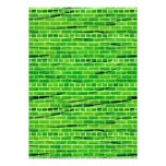 121 WRINKLED BRIGHT GREEN BRICK WALL PATTERNS BACK CUSTOM INVITE