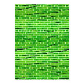 121 WRINKLED BRIGHT GREEN BRICK WALL PATTERNS BACK CUSTOM INVITE