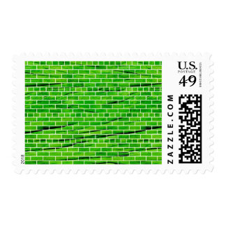 121 WRINKLED BRIGHT GREEN BRICK WALL PATTERNS BACK STAMPS