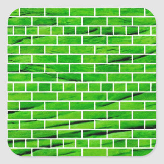121 WRINKLED BRIGHT GREEN BRICK WALL PATTERNS BACK SQUARE STICKER