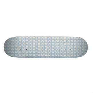 122 LIGHT BLUE WHITE   DECORATIVE SCROLL PATTERN T SKATEBOARD DECK