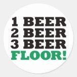 123 Beer Floor - Green Round Stickers