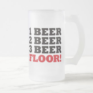 123 Beer Floor - Red Frosted Glass Beer Mug