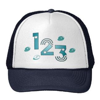 123 blue trucker hat