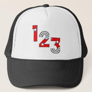 123 red-blue trucker hat