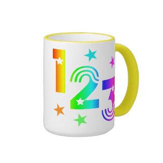 123 regenbogen taza de dos colores