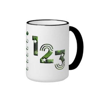 123 verde taza de dos colores