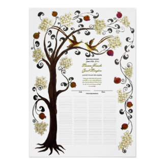124 guests - Ivory Tree of Life Cummings Quaker Poster
