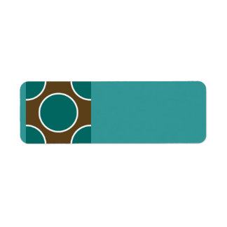 124 RETRO COLORS BROWN TEAL WHITE POLKADOTS PATTER LABEL