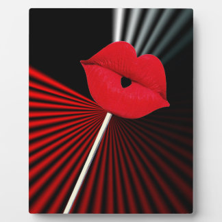 1253 BLACK RED WHITE MOUTH KISS LIPS GRAPHIC BACKG PLAQUE