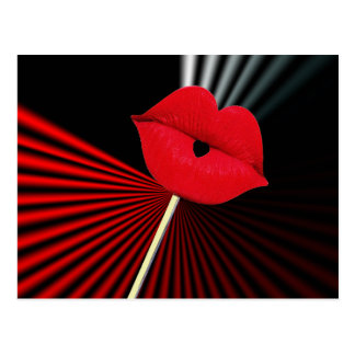 1253 BLACK RED WHITE MOUTH KISS LIPS GRAPHIC BACKG POSTCARD