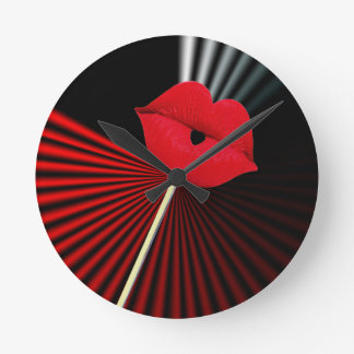 1253 BLACK RED WHITE MOUTH KISS LIPS GRAPHIC BACKG ROUND CLOCK
