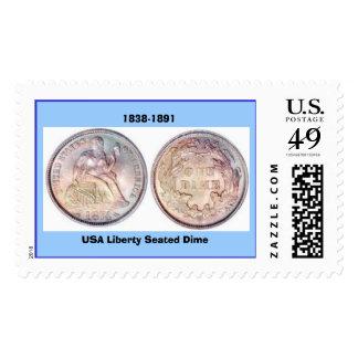 125  dime-LibertySeatedArrowsDime, USA Liberty ... Postage