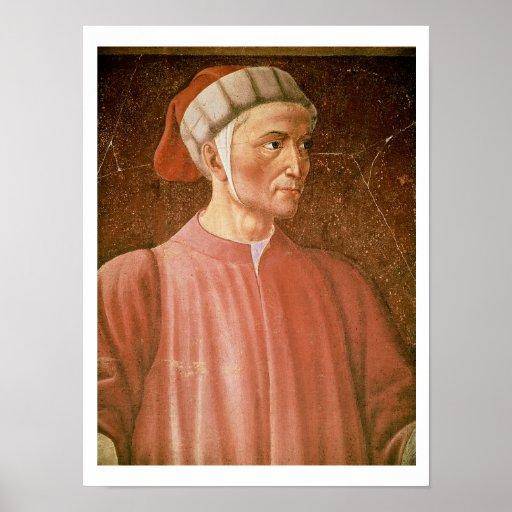 1265-1321) detalles de su busto, franco de Dante A Poster