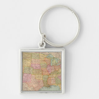 12728 United States Silver-Colored Square Keychain
