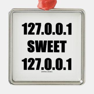 127.0.0.1 Sweet 127.0.0.1 (Home Sweet Home Geek) Square Metal Christmas Ornament