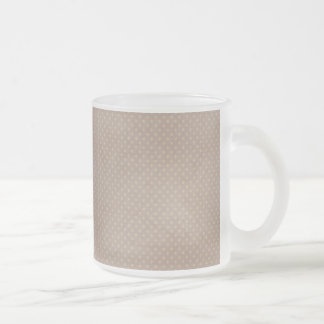 1282 BROWN NEUTRAL TANS DISTRESSED POLKA-DOTS PATT FROSTED GLASS COFFEE MUG