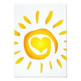 12887 BRIGHT YELLOW HEART SUNSHINE SURF SWIRL SYMB CARD