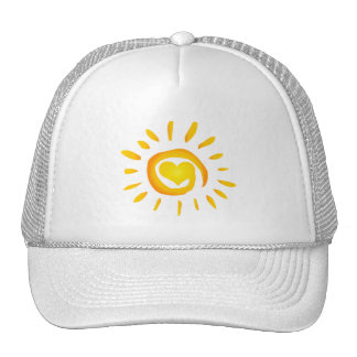 12887 BRIGHT YELLOW HEART SUNSHINE SURF SWIRL SYMB TRUCKER HAT