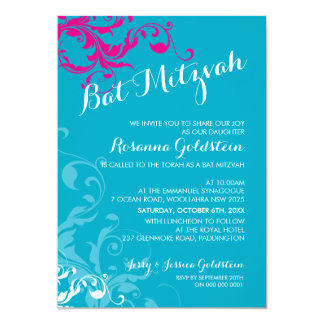 128-marnie BAT MITZVAH flourish turquoise pink 5x7 Paper Invitation Card