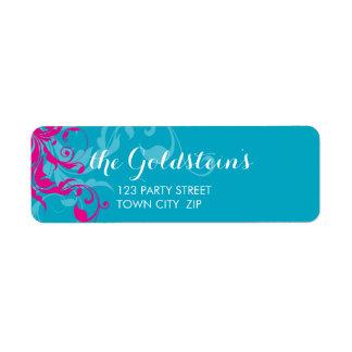 128-marnie BAT MITZVAH flourish turquoise pink Custom Return Address Labels