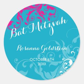 128-marnie BAT MITZVAH flourish turquoise pink Round Stickers