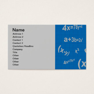 129 BLUE MATHMATICAL EQUATIONS MATH ALGEBRA EDUCAT BUSINESS CARD