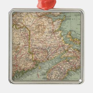 129 Maine, Nueva Escocia, Nuevo Brunswick, Quebec Adorno Cuadrado Plateado