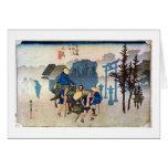 12. 三島宿, 広重 Mishima-juku, Hiroshige, Ukiyo-e Felicitacion