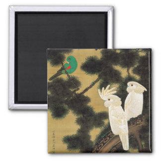 12. 老松鸚鵡図, 若冲 Pine-tree & Parrot, Jakuchū 2 Inch Square Magnet