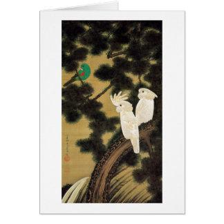 12. 老松鸚鵡図, 若冲 Pine-tree & Parrot, Jakuchū Card