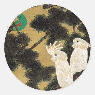 12. 老松鸚鵡図, 若冲 Pine-tree & Parrot, Jakuchū Round Sticker