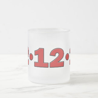 12-12-12 10 OZ FROSTED GLASS COFFEE MUG