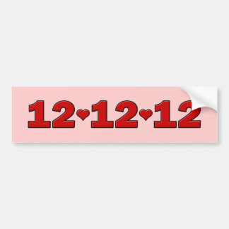 12 12 12 Corazones Pegatina De Parachoque