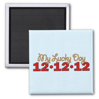 12-12-12 mi día afortunado imán cuadrado