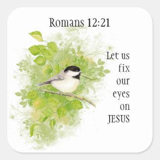12:12 de los romanos de la escritura alegre, pegatina cuadrada