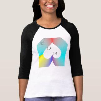 12 13 14 camiseta del corazón del arco iris